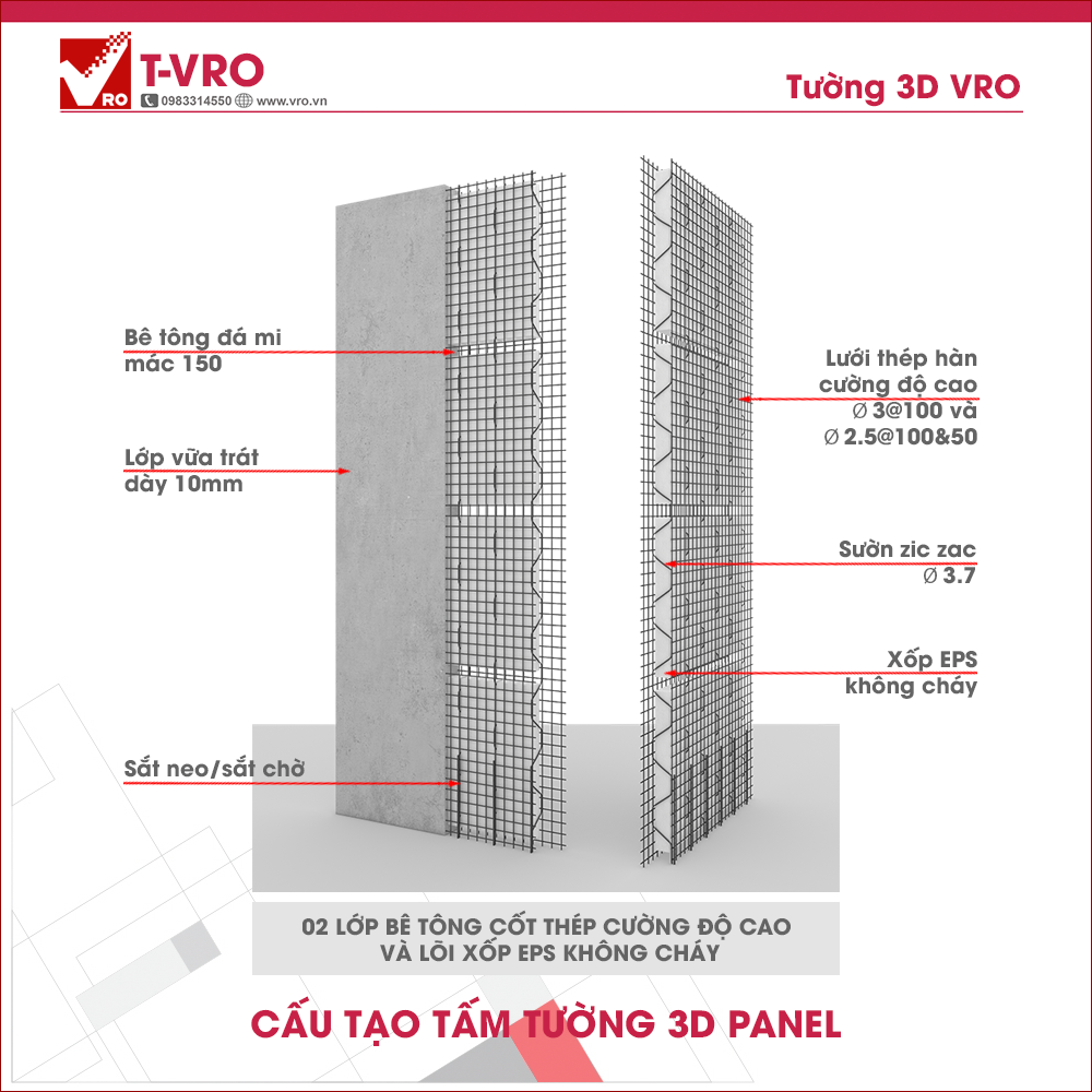 Load bearing wall panel 3D T-VRO